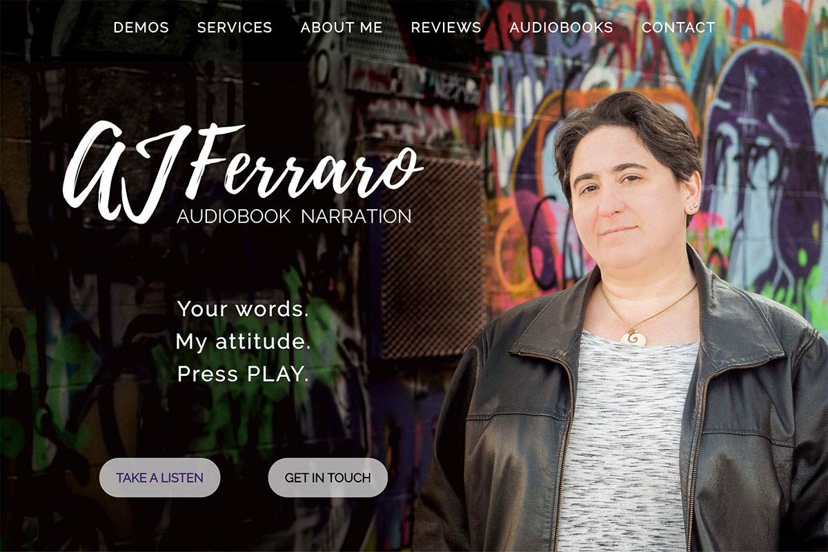 Initial screen view of custom website for audiobook narrator AJ Ferraro